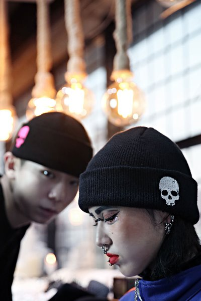 ByTheR Neon Skull embroidered Beanie