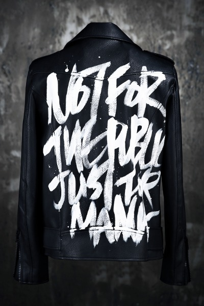 ByTheR Custom Paint Slogan Leather Jacket