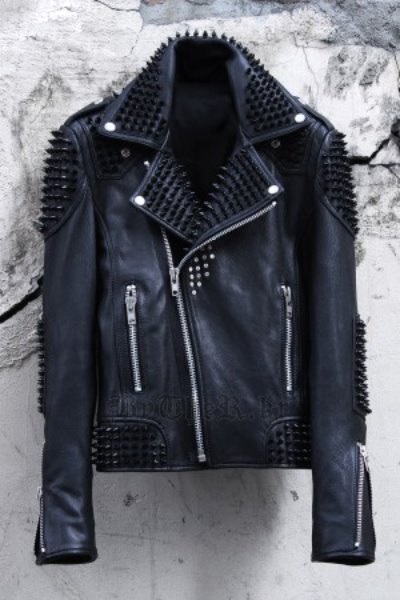 ByTheR Black Studded Detail Custom Quilting Leather Made Biker Jacket
