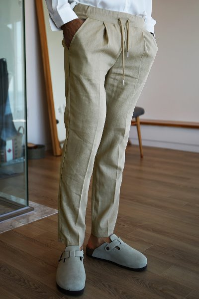 Basic Linen  Pants with Waist Band