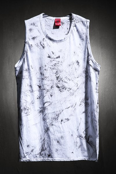 ByTheR Custom Rough Painting Long Layered Tank Top White