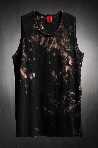 ByTheR Custom Rough Bleach Long Layered Tank Top Black