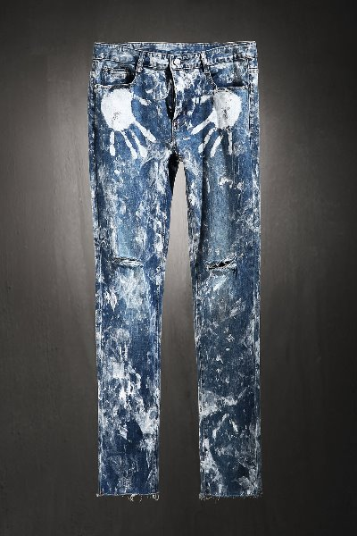 ByTheR Custom Rough Hand Painting Cutting Knife Jeans