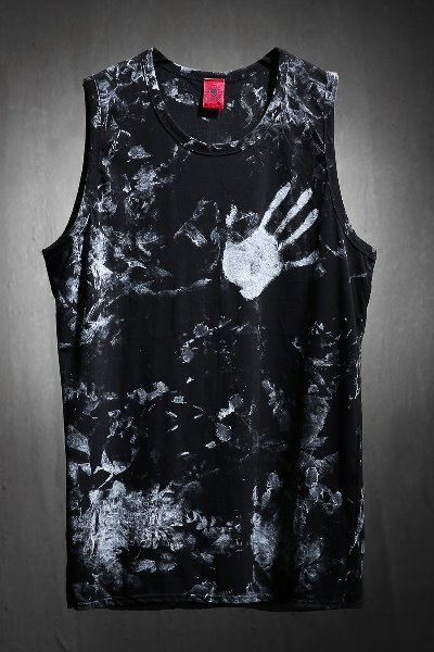 ByTheR Custom Rough Hand Painting Long Layered Tank Top Black