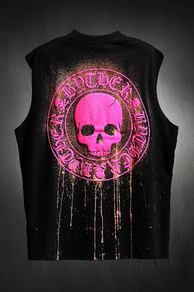 ByTheR Custom Dripping Bleach Skull Logo Cutting Box Tank Top Pink