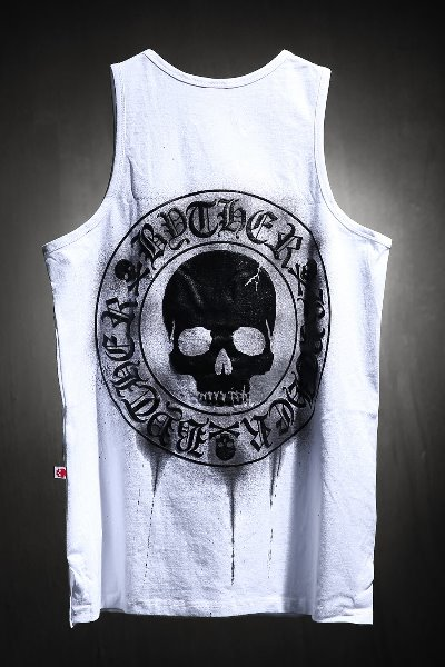ByTheR Custom Dripping Painting Skull Logo Embossed Tank Top White