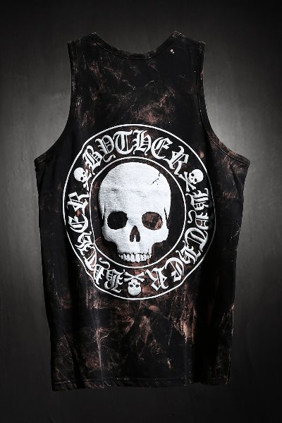 ByTheR Custom Rough Bleach Skull Logo Embossed Tank Top Black