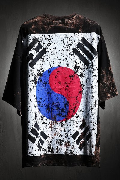 ByTheR Custom Rough Bleach Korea Taegeukgi Short-sleeved Black