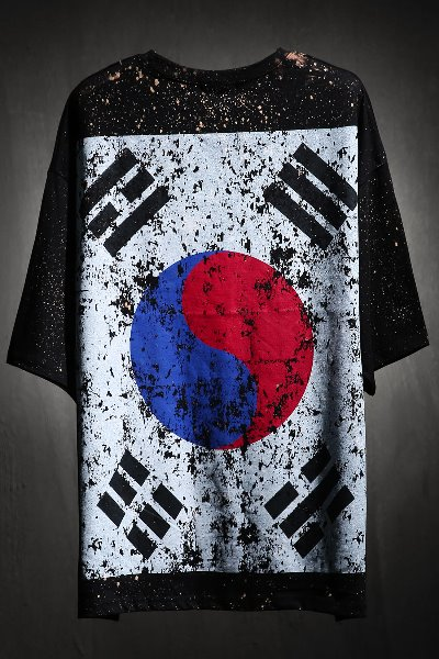 ByTheR Custom Dot Bleach Korea Taegeukgi Short Sleeve Tee Black