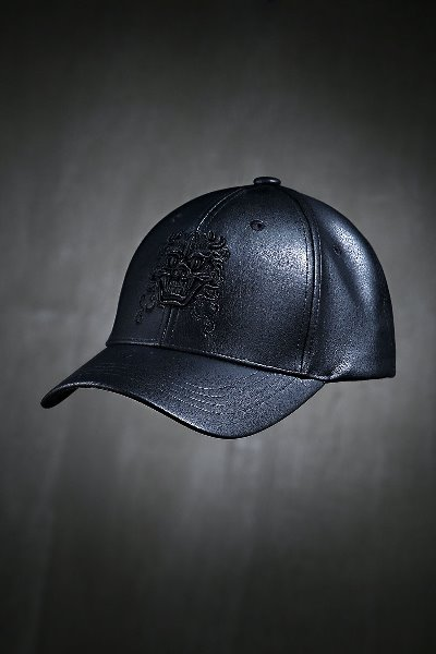 Mukha embroidered leather ball cap