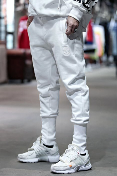 ByTheR Skull Embroidered Cotton Jogger Pants White
