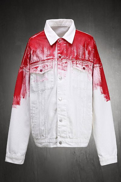 ByTheR Custom Red Painting Loose Fit Cotton Jacket White