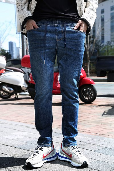 Straight Fit Washed Banded Denim Pants