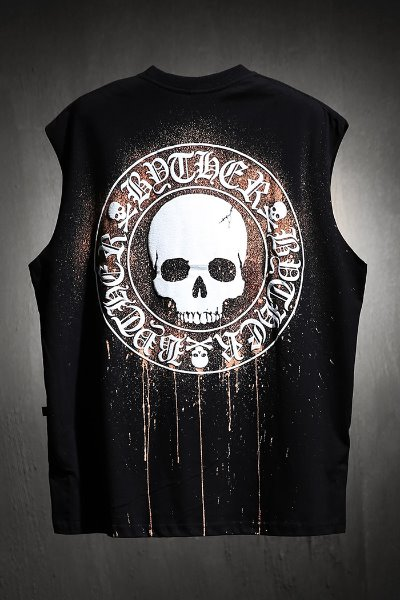 ByTheR Custom Dripping Bleach Skull Logo Cutting Box Tank Top Black
