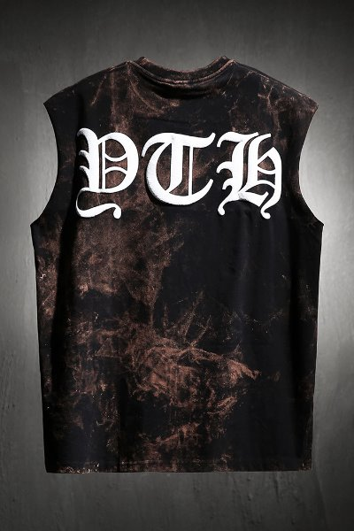 ByTheR Custom Rough Bleach Big Lettering Logo Printing Tank Top Black