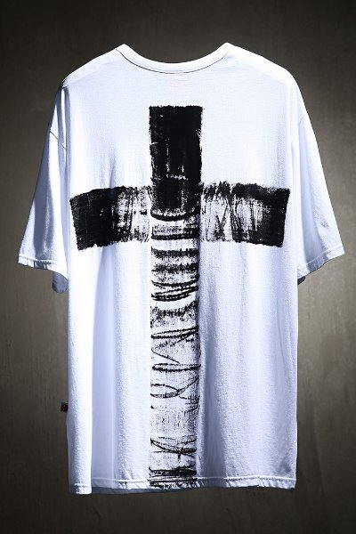 ByTheR Custom Cross Painting U Neck Short Sleeve Tee