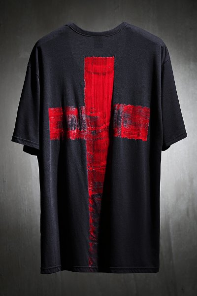 ByTheR Custom Red Cross Painting U Neck Short Sleeve Tee