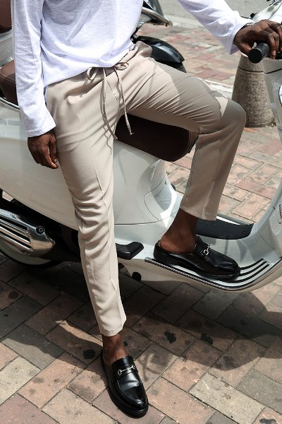 Straight fit Long slacks with waist elastic band